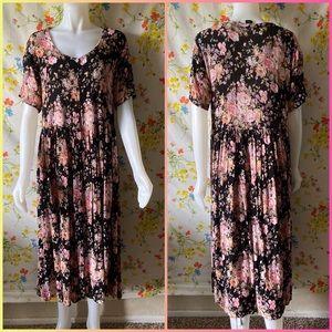 VINTAGE 90s FLORAL GRUNGE DRESS size M